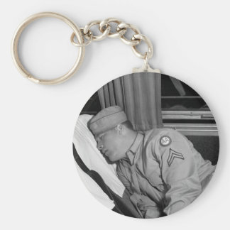 WW2 Soldier Napping, 1943 Basic Round Button Key Ring