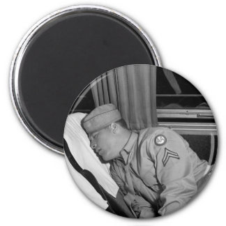 WW2 Soldier Napping, 1943 Magnets