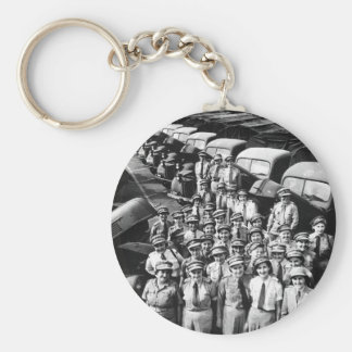 WW2 Truck Ladies, 1940s Basic Round Button Key Ring