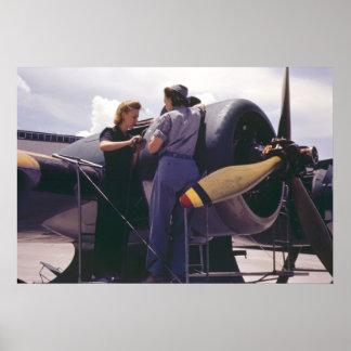 WW2 Women Airplane Mechanics Poster