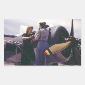 WW2 Women Aviation Mechanics Rectangular Sticker