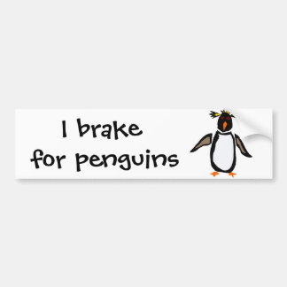 WW- Funny Rockhopper Penguin Primitive Art Bumper Stickers