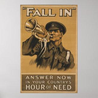 WW I Bugle Call ~Fall In Posters