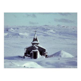 WW II Church in Winter on Amchitka Island Postcard