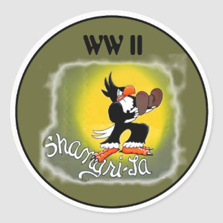 WW II - NOSE ART.. CLASSIC ROUND STICKER