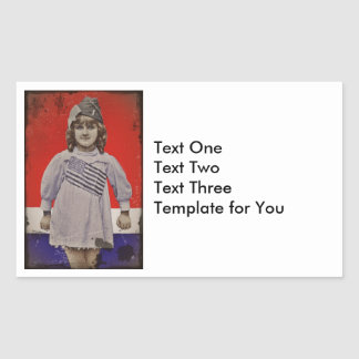 WWI Girl in Flag Dress Rectangular Sticker