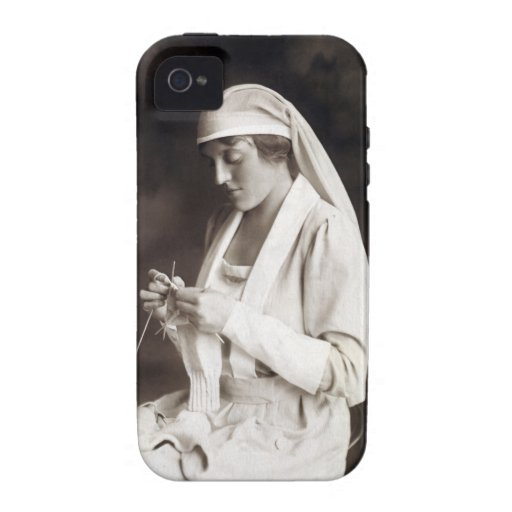 WWI Nurse knitting Sweater iPhone 4 Cover