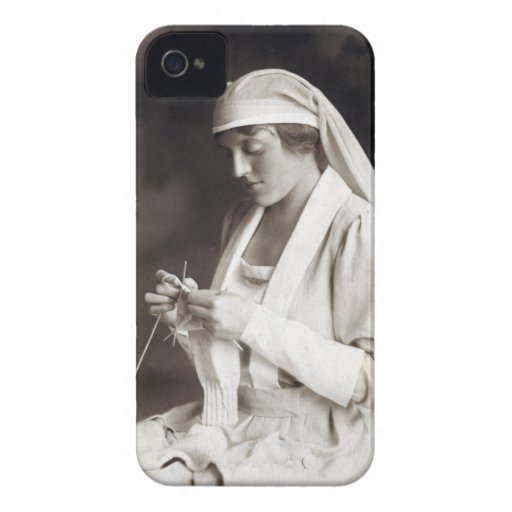WWI Nurse knitting Sweater iPhone 4 Case-Mate Cases