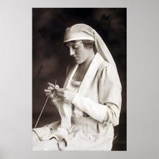 WWI Nurse knitting Sweater Poster