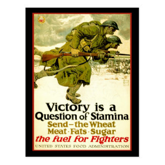 WWI poster about soldier's food supply Postcard