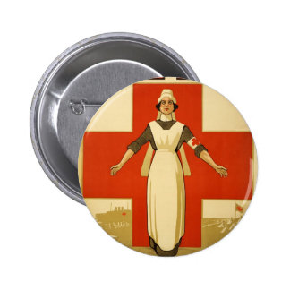 WWI Poster Red Cross Vintage 6 Cm Round Badge