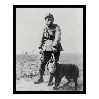 WWI Sergeant and His Dog Wearing Gas Masks 1915 Poster