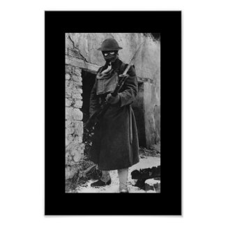WWI Soldier in Gas Mask Poster