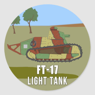 WWI Tanks: FT-17 Light Tank Classic Round Sticker