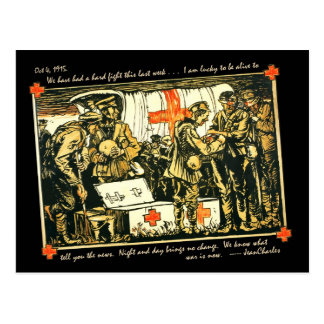 WWI Wounded Soldiers at Red Cross Truck Postcard