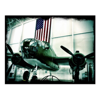 WWII Airplane American Flag Patriotic Postcards