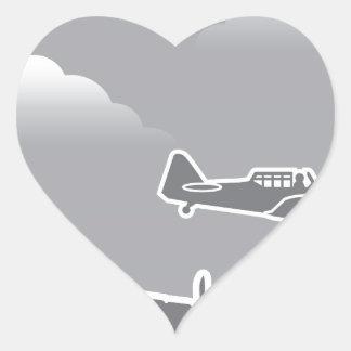 WWII Airplanes Heart Sticker