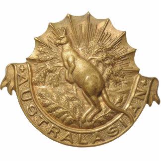 WWII Australian Skippy Hat Badge Keychain Photo Sculpture Key Ring