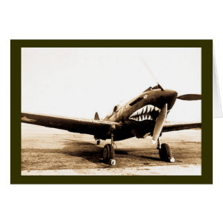 WWII Flying Tigers Curtiss P-40 Fighter Plane Card