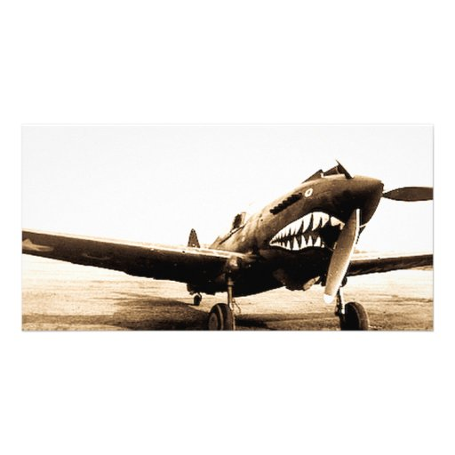 WWII Flying Tigers Curtiss P-40 Fighter Plane Photo Card Template