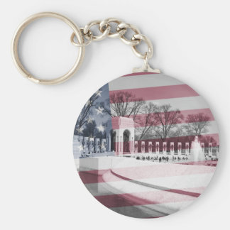 WWII Memorial with Flag Overlay Basic Round Button Key Ring