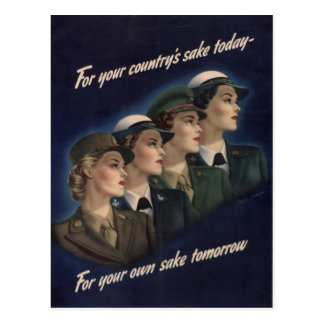 WWII Military Recruiting Poster -- Women Postcard