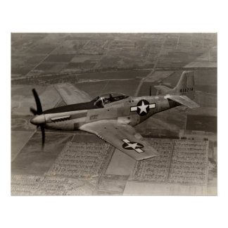 WWII P-51 Mustang in Flight Poster