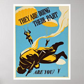WWII Paratroop Parachute - Vintage Patriotism Poster