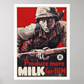 WWII Product Milk - Vintage Patriotism Poster