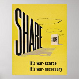 WWII Share Sugar - Vintage Patriotism Poster