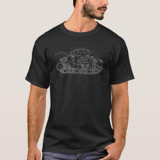 WWII Sherman M4 Tank White Diagram T-Shirt