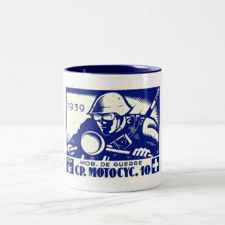 WWII Swiss Motorcycle Company, blue Coffee Mug