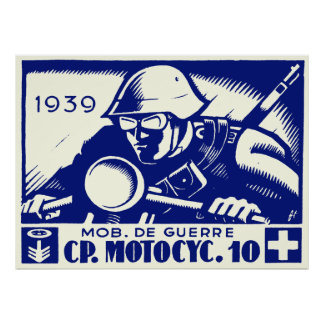 WWII Swiss Motorcycle Company, blue Poster