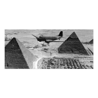 WWII Transport Planes Flying Over Pyramids Customised Rack Card