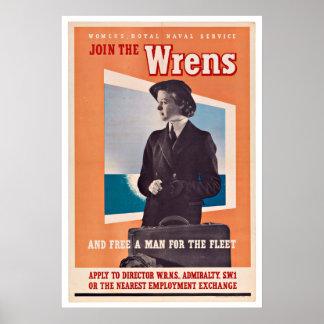 WWII UK Wrens - Vintage Patriotism Posters