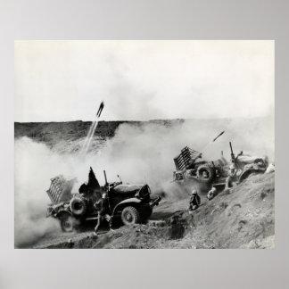 WWII US Marine truck mounted rockets Iwo Jima Print