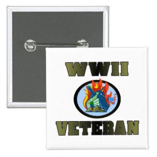 WWII Veteran 15 Cm Square Badge