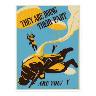 WWII Vintage Paratrooper Postcard