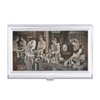 WWII Women in Assembly Line Business Card Holder