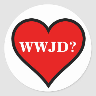 WWJD Heart Classic Round Sticker