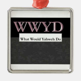 WWYD - What Would Yahweh Do - Regal Purple Silver-Colored Square Decoration
