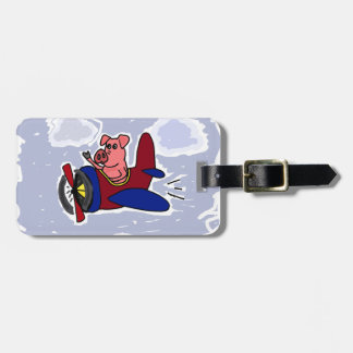 WX- Flying Pig in Airplane Cartoon Luggage Tag