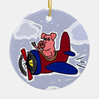 WX- Flying Pig in Airplane Cartoon Round Ceramic Decoration