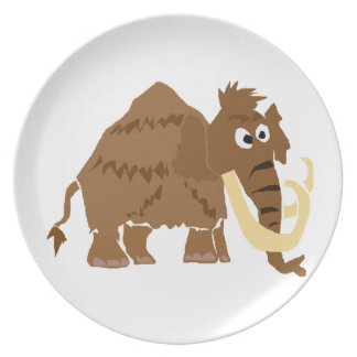 WX- Funny Woolly Mammoth Primitive Art Dinner Plates