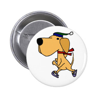 WY- Funny Labrador Dog Ice Skating Pins