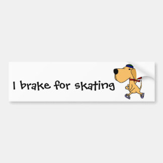 WY- Funny Labrador Dog Ice Skating Bumper Sticker