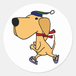 WY- Funny Labrador Dog Ice Skating Classic Round Sticker