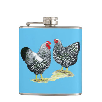 Wyandottes Silver-laced Pair Hip Flask
