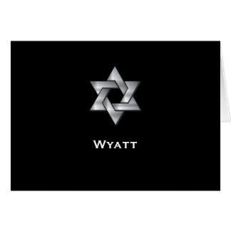 Wyatt Black Bar Mitzvah Thank You Note Card