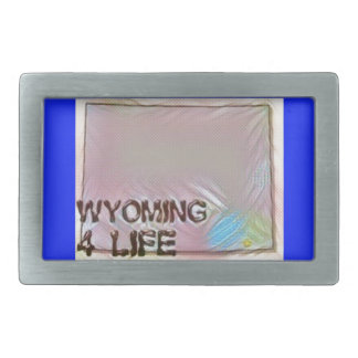 """Wyoming 4 Life"" State Map Pride Design Belt Buckle"